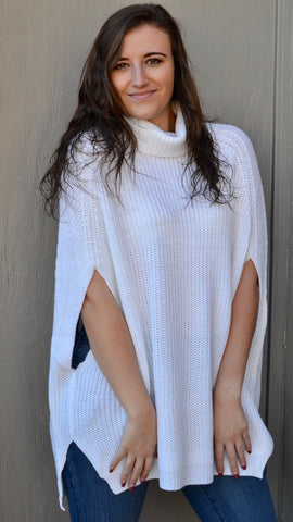 Fiona Turtleneck Poncho in Ivory