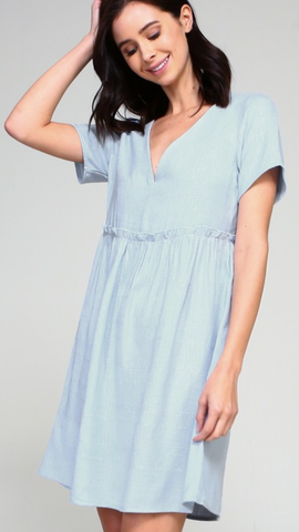 Veronica V-Neck Dress in Baby Blue