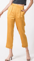 Pleated Mustard Pants