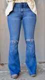 Medium Denim Flare Jeans with Knee Slits by O2 Denim