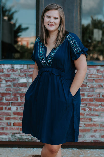 Embroidered Emily Dress in Navy