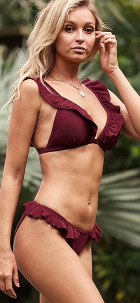 Raye Ruffle Swim Top in Cranberry