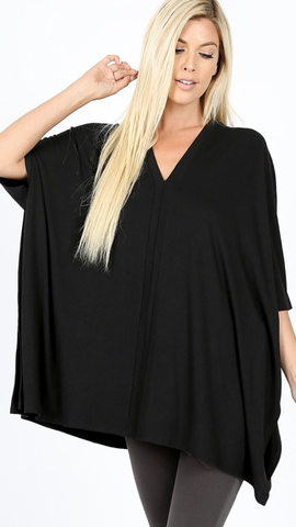 Pandy Poncho Top in Black (1X-3X)