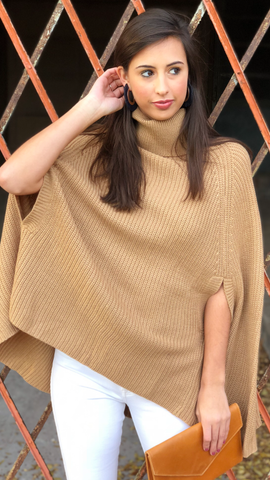 Barb Poncho in Camel