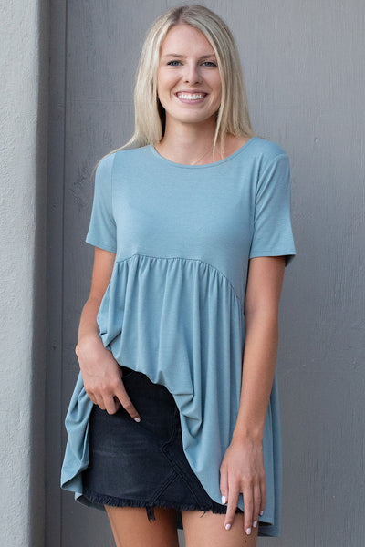 Mare Peplum Top in Blue Grey