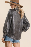 Sequins Turtleneck Top in Black