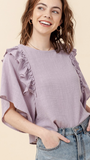 Josephine Ruffle Top in Lilac