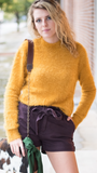 Elise Fuzzy Textured Top in Mustard