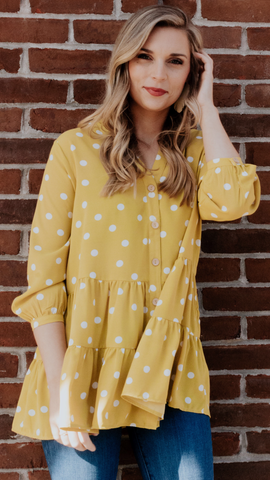 Mira Polka Dot Top in Mustard (XL-2X)