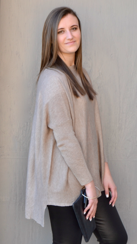 Brea Lightweight Sweater in in Taupe