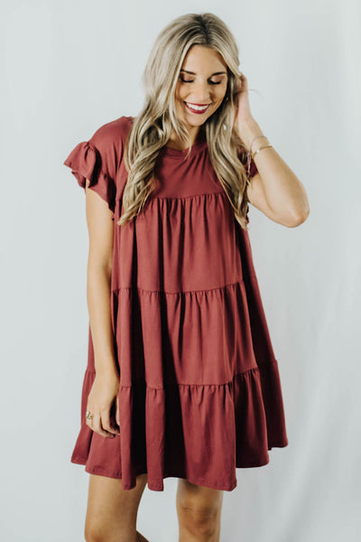 Edna Tiered Dress in Cranberry