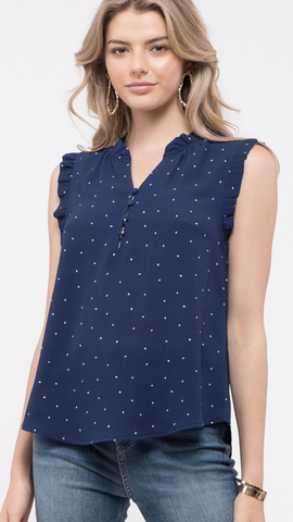 Sleeveless Dot-Print Top in Navy