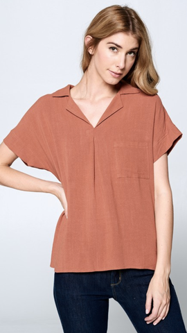 Alston Rust Collared Top