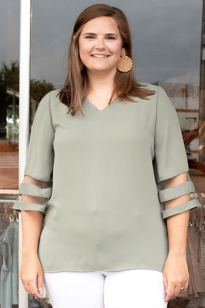 Carina Bell Sleeve Top in Lt Olive (1X-3X)
