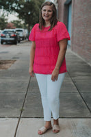Stephey Dot Top in Hot Pink