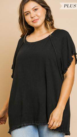 Jilly Short Sleeve Top in Black (XL-2X)