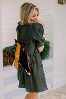 Puff Sleeve Preston Dress in Dusty Green