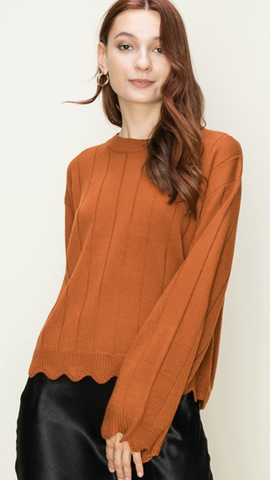 Scallop Detail Sweater in Rust