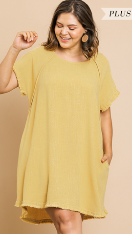 Valerie Short Sleeve Dress in Yellow (XL-2X)