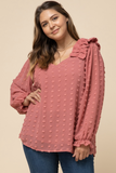 Dotted Sweet V-neck Top Dark Rose (XL-2X)