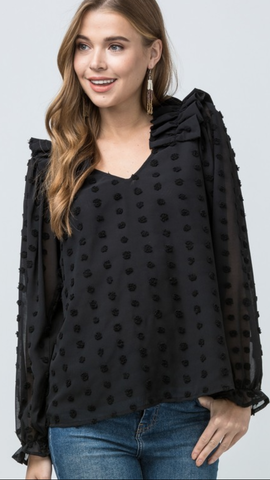 Dotted Sweet V-neck Top in Black (XL-2X)