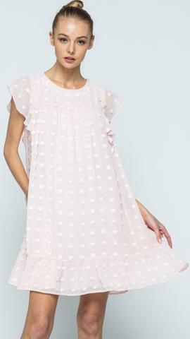 Kaela Babydoll Dress in Blush