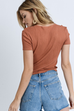 Tina Short Sleeve V-Neck Crop in Rust
