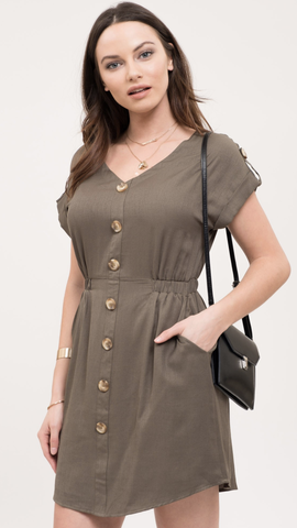 Hope Button Down Dress in Olive