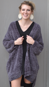 Chenille Knit Button Down Cardigan in Charcoal