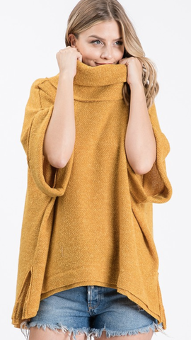 Aesha Cowl Neck Sweater in Mustard (1X-3X)