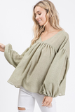 Nela Long Sleeve Top in Sage