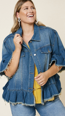 Ruffle Stone Wash Denim Jacket (1X-3X)