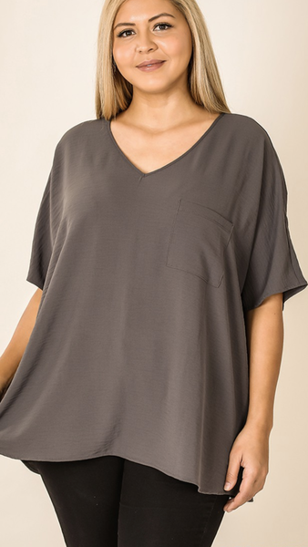 Elissabetta V Neck Top in Ash Grey