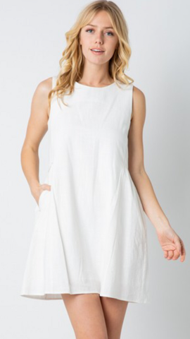 Marci Sleeveless Dress in Off White