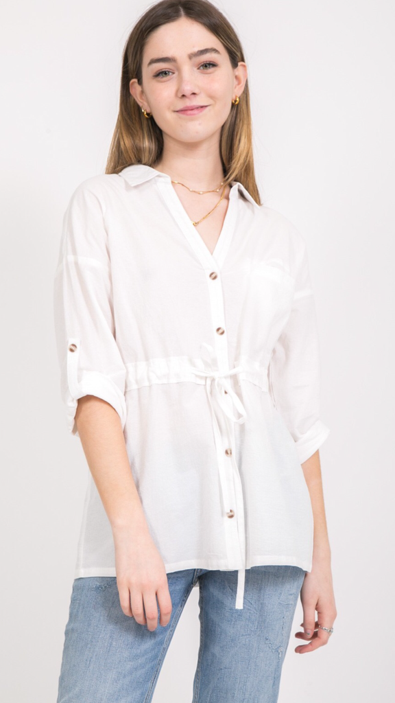 Kiana Button Up Top in White