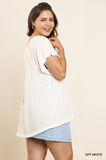 Jilly Short Sleeve Top in Off White