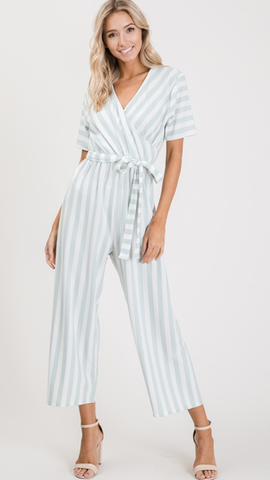 Gillina Stripe Short Sleeve Jumpsuit