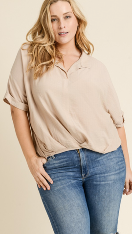 April Taupe Top (XL-3XL)
