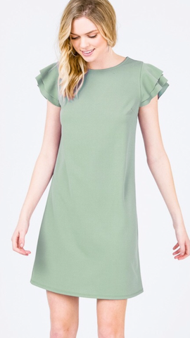 Becca Ruffle Sleeve Dress in Sage