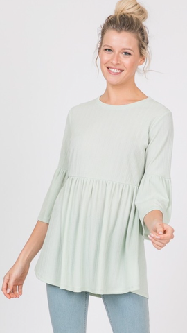 Kenna Bell Sleeve Top in Mint (Sizes 1X-3X)