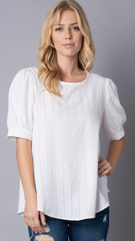Ellen Puff Sleeve Top in White