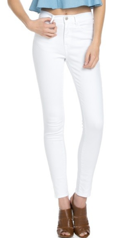 High Waist White Skinny Jeans by O2 Denim