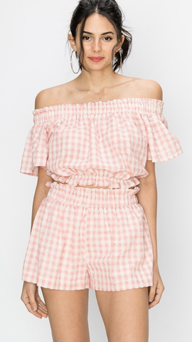 Gingham Print Banded Shorts in Pink
