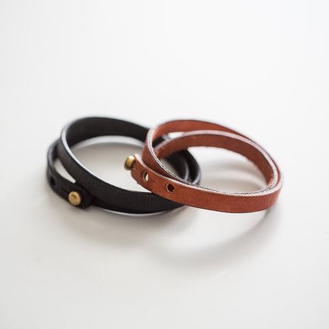 Double Wrap Leather Bracelet by Tribe Alive