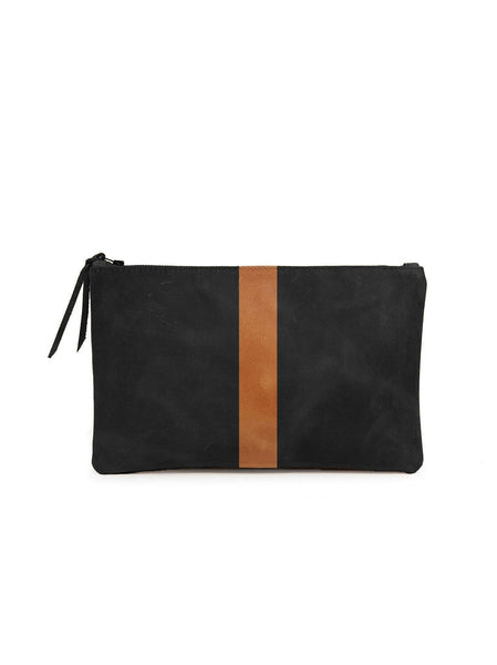 Martha Zip Pouch in Black/Cognac by ABLE