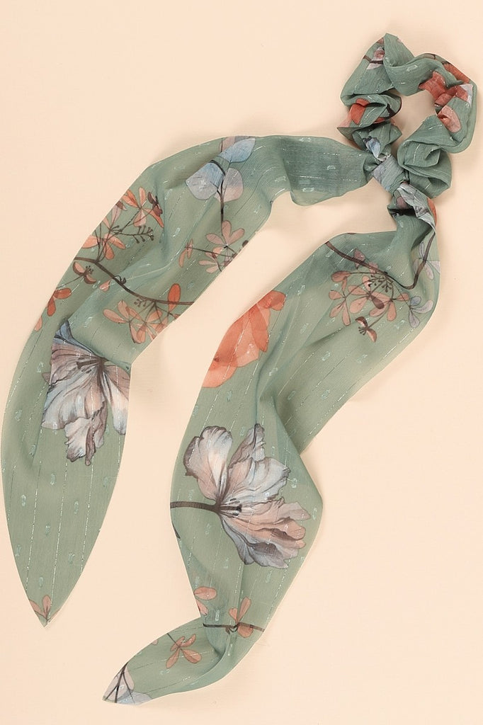 Floral Print Ponytail Scrunchy in Green