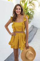 Ruffle Detail Mustard Two Piece