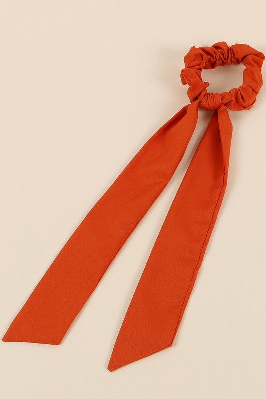 Solid Ponytail Scarf Scrunchy in Rust