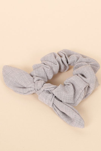 Solid Color Woven Hair Scrunchy in Grey