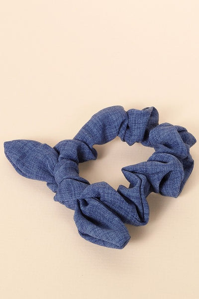 Solid Color Woven Hair Scrunchy in Denim